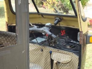 Auto-rickshaw interior.