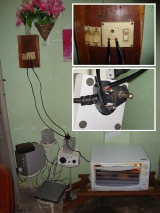 Unsafe electrical improvisation.