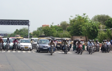 Motorcycles on JLN Marg
