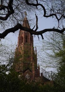 Mutiny Memorial through tree limbs