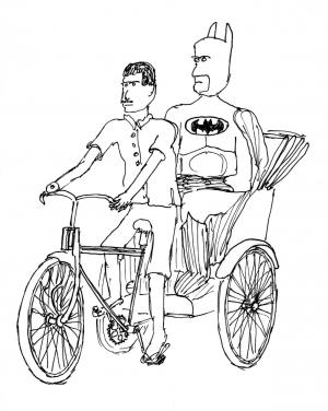 Batman gets a lift.