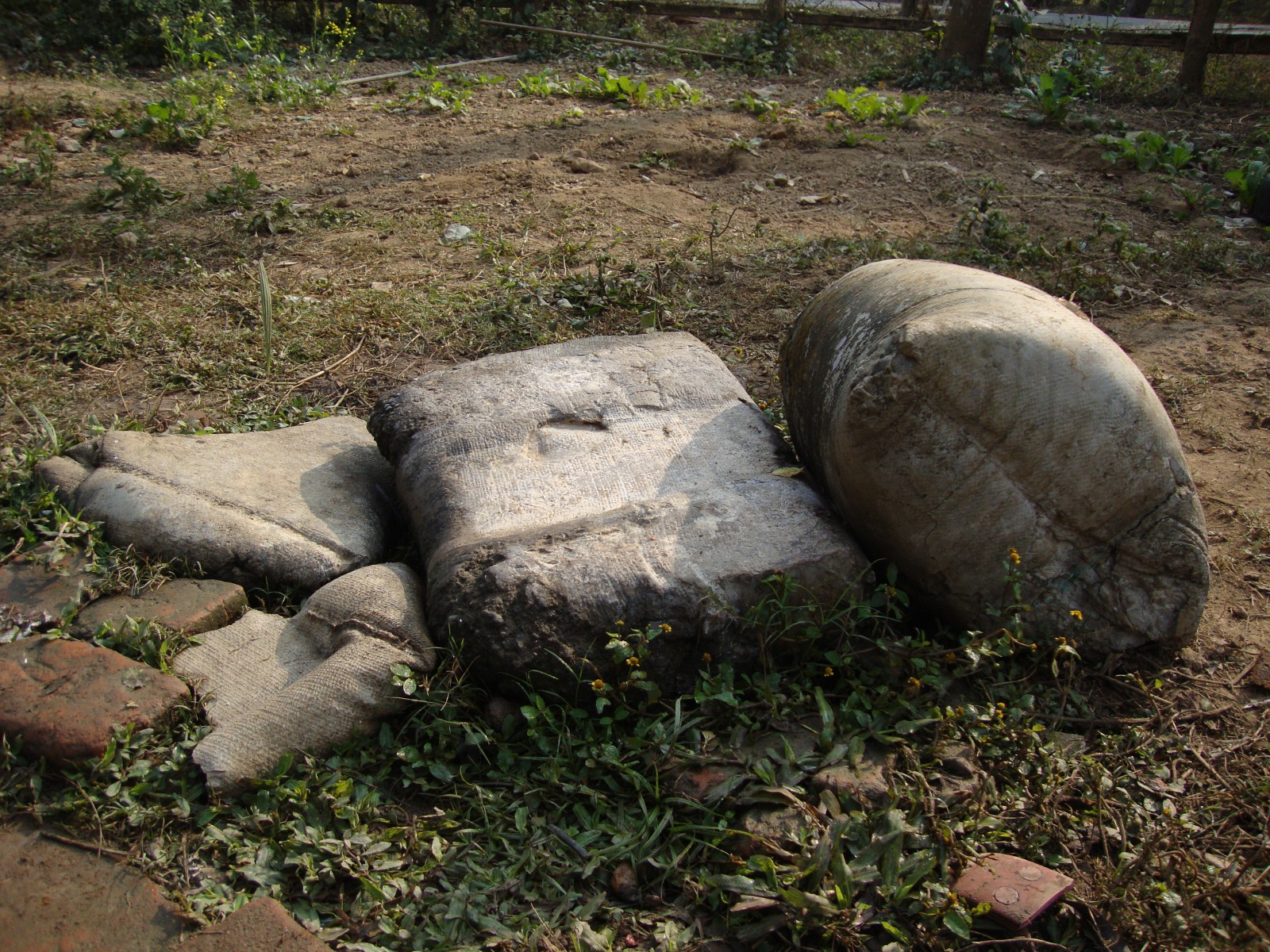 Wrecked cement bags.