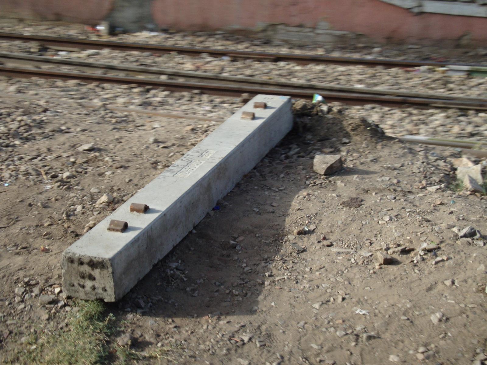 Concrete rail tie.