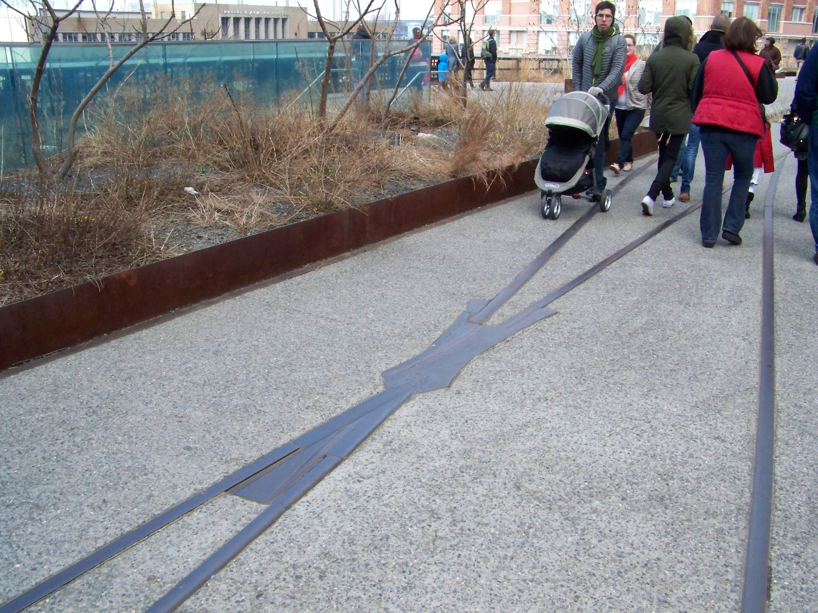 Rails integrated into the pavement.