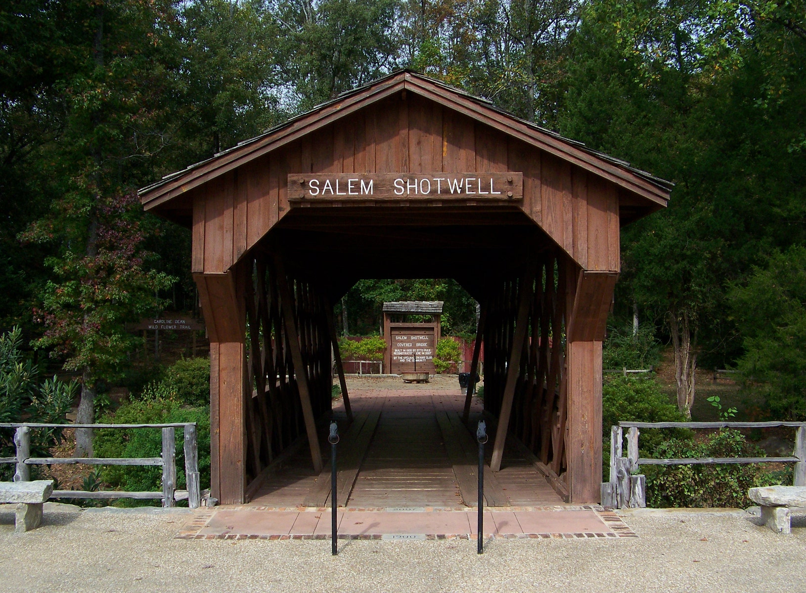 The reconstructed Salem-Shotwell Bridge at its new location in Opelika Municipal Park.