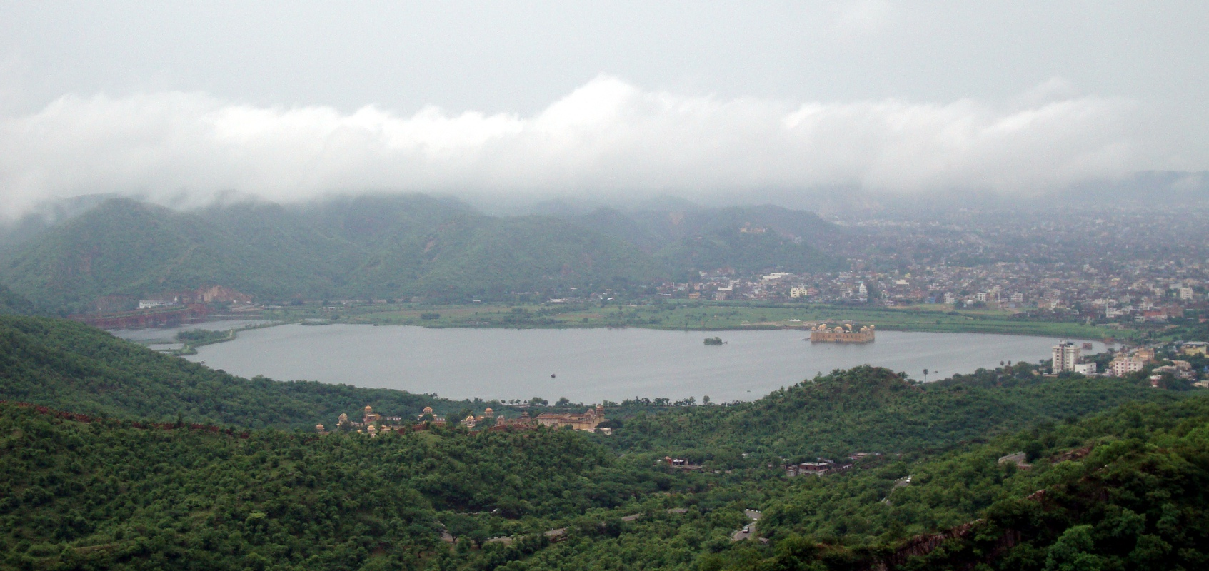 Hilltop view of Jal Mahal Sagar.