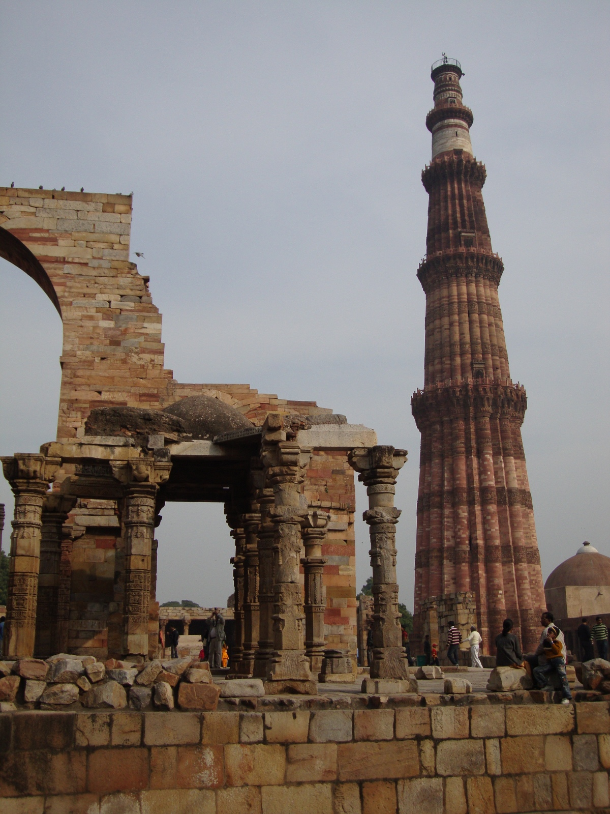 Qutb Minar towers over surrounding ruins in south Delhi.