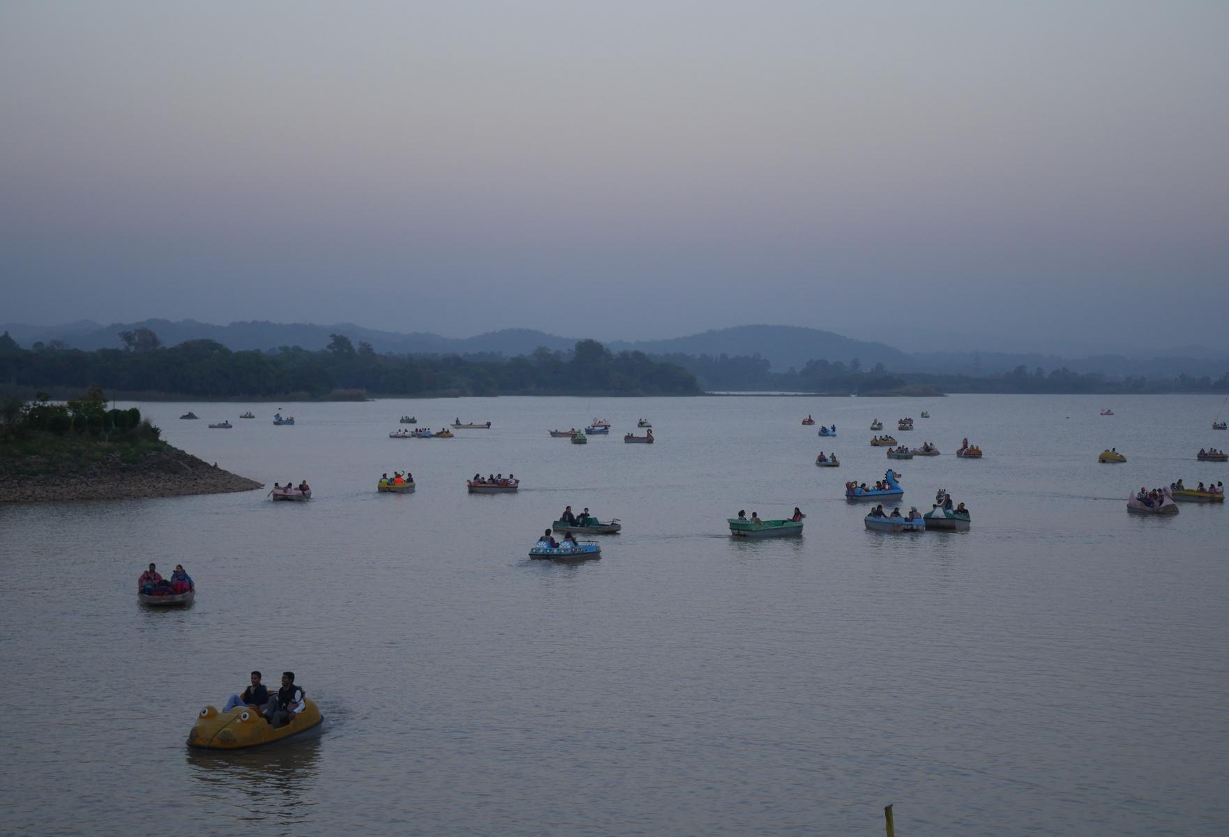 Paddleboats on Sukhna Lake.