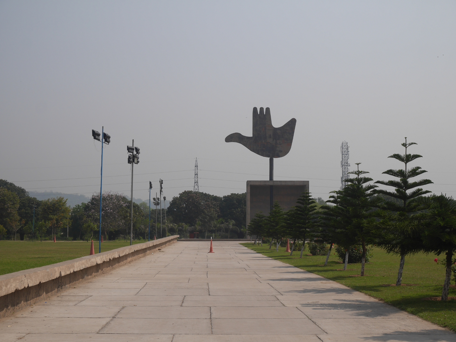 Chandigarh's Open Hand Monument, designed by Le Corbusier but not constructed until 1985.