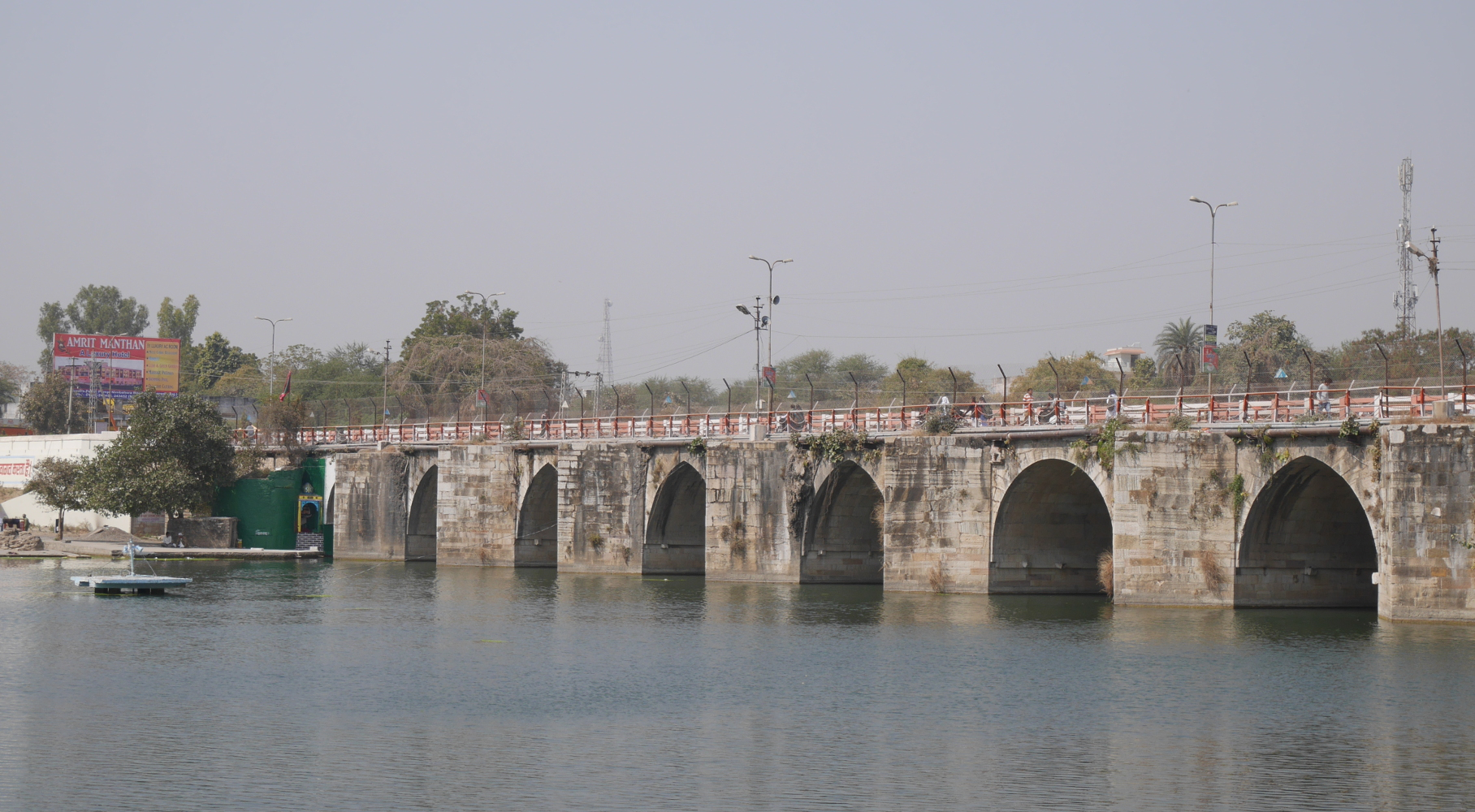 View of the medieval Gambhiri River Bridge from the eastern riverbank.