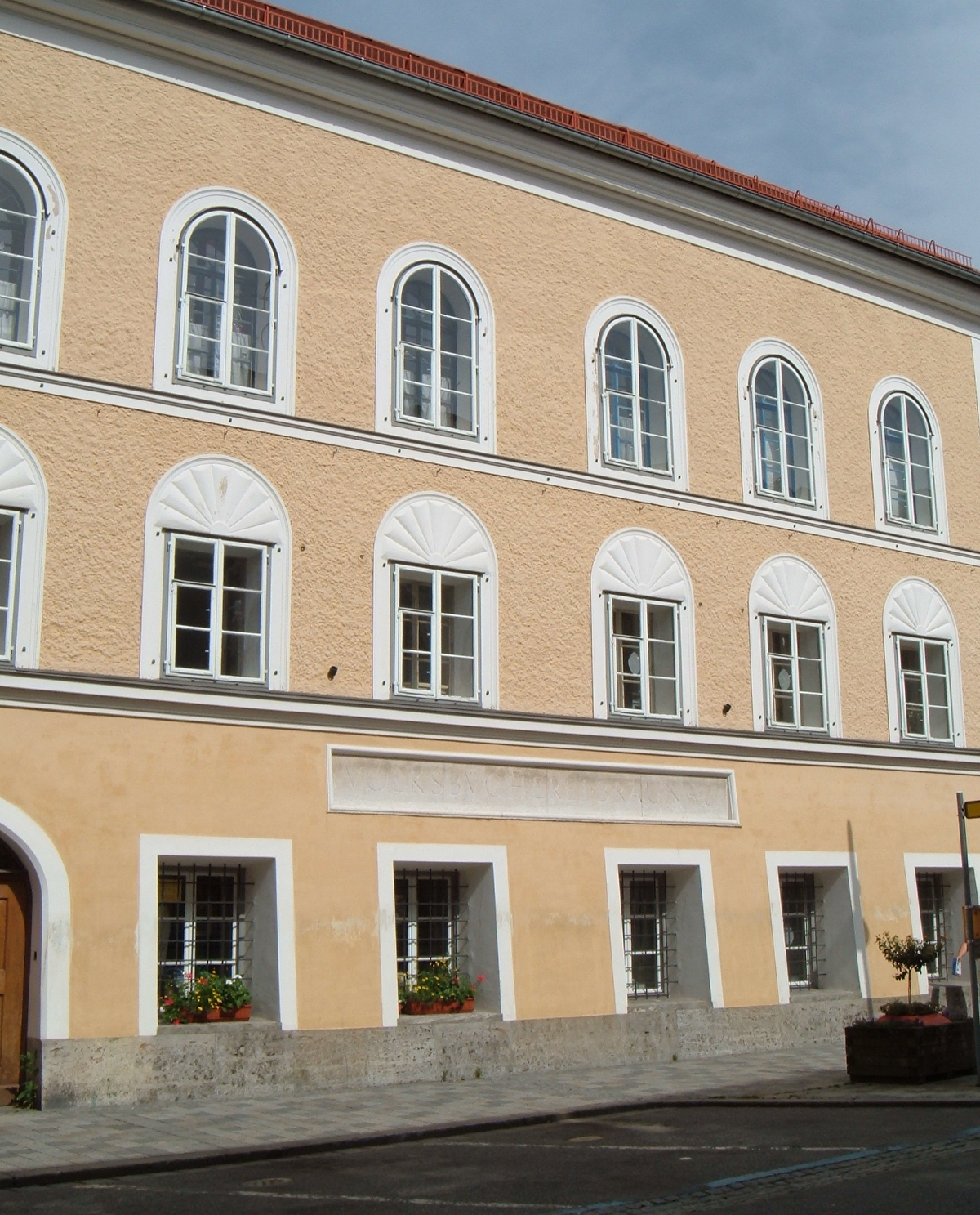 The facade of the house in which Hitler was born, Braunau am Inn, Upper Austria.