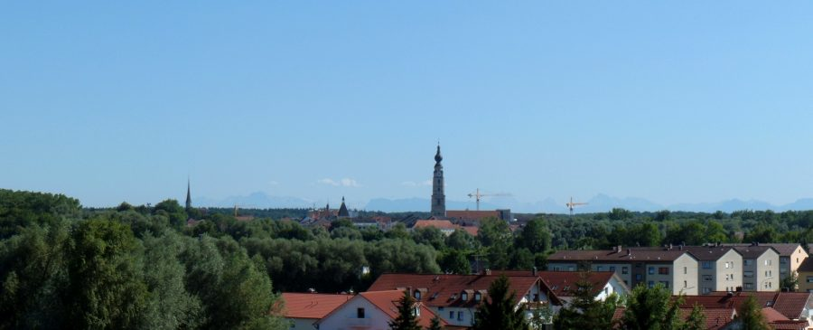 View of Braunau am Inn and the distant Alps.