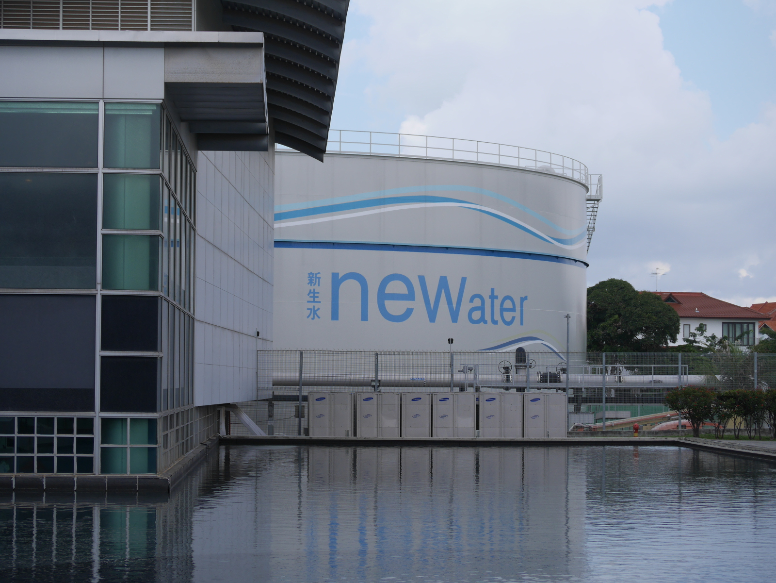 Tank at the Newater treatment plant with an integrated visitor center.