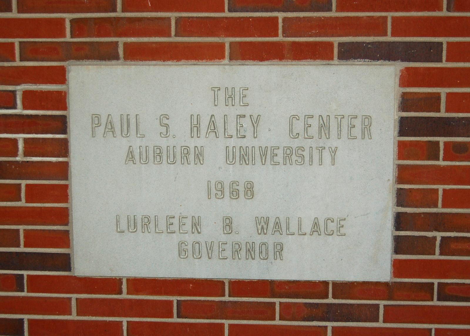 Plaque on Haley Center, Auburn University, bearing Lurleen Wallace's name.