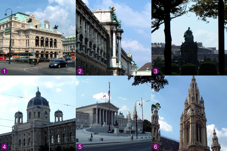 Monuments on Ringstrasse in Vienna: 1) Staatsoper (1869); 2) Hofburg (1881-1913); 3) Maria-Theresien-Platz (1889); 4) Naturhistorisches Museum (1889); 5) Parlement (1883); 6) Rathaus (1883).