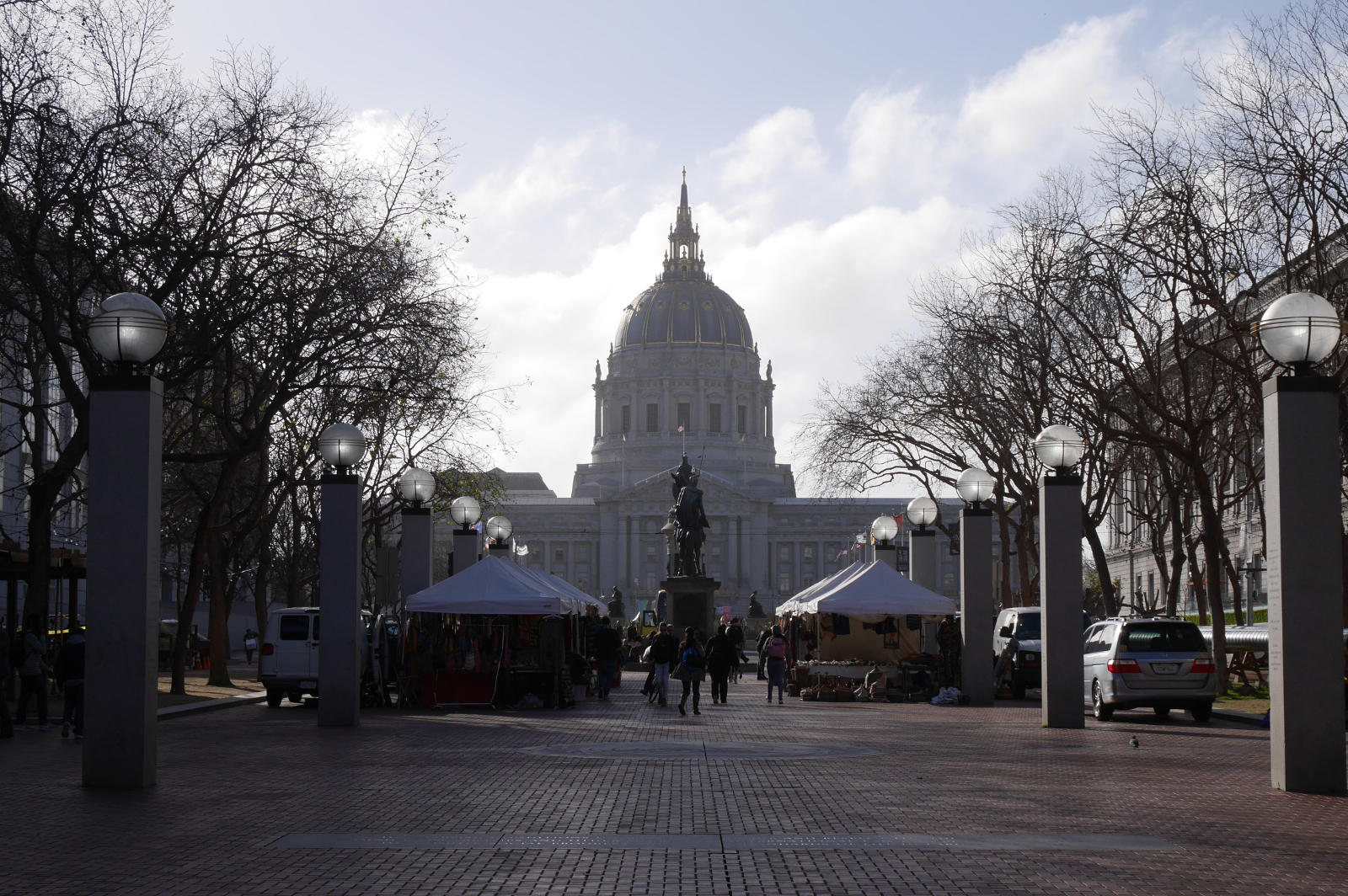 UN Plaza, San Francisco, with City Hall in the background.