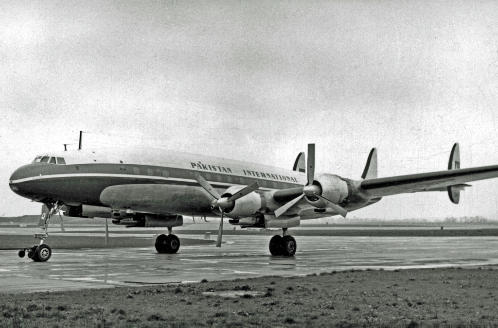 A Pakistan International Airlines Lockheed Super Constellation at London-Heathrow. (Source: RuthAS on Wikimedia Commons.)