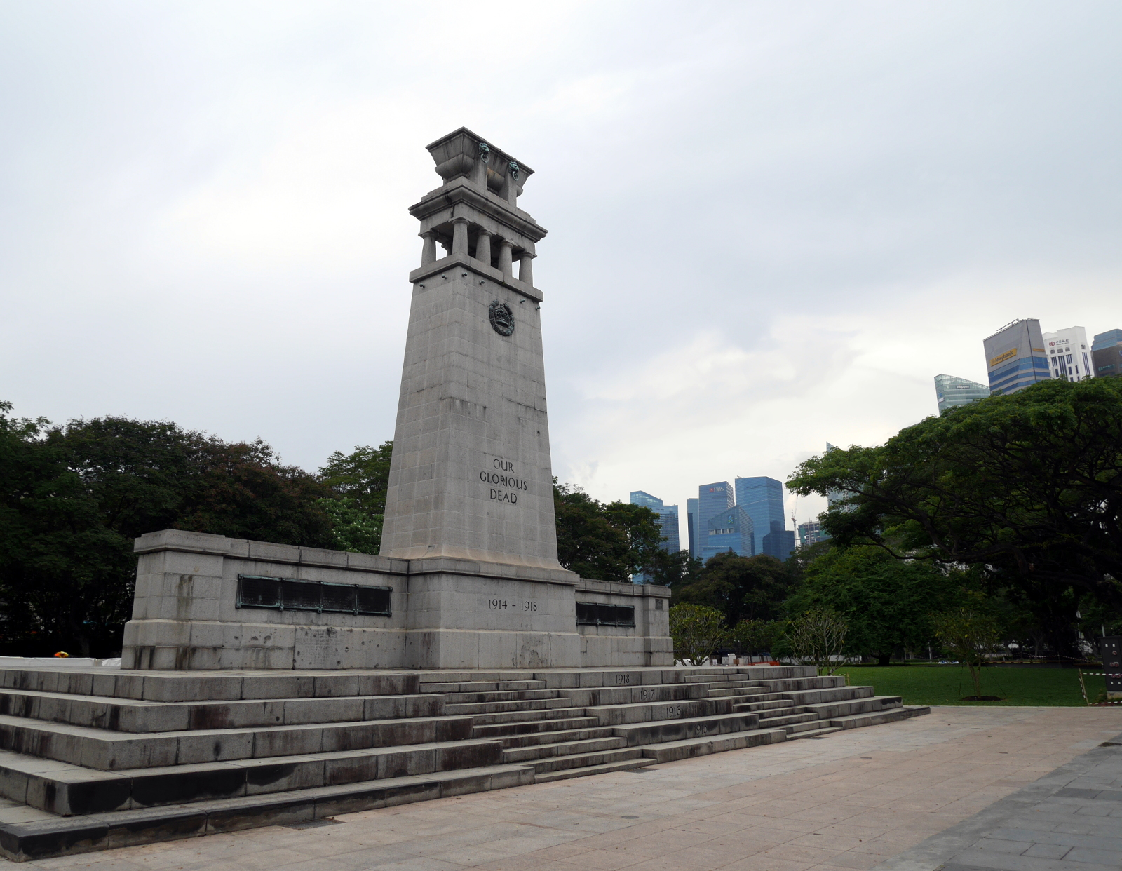 Singapore's monument to the Great War, which is inscribed in honor of the fallen of World War II on the back side.