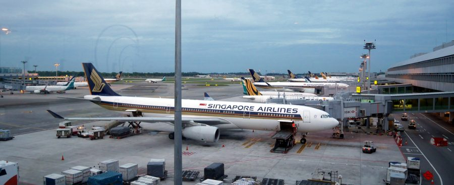 Singapore Airlines planes at Changi Airport.