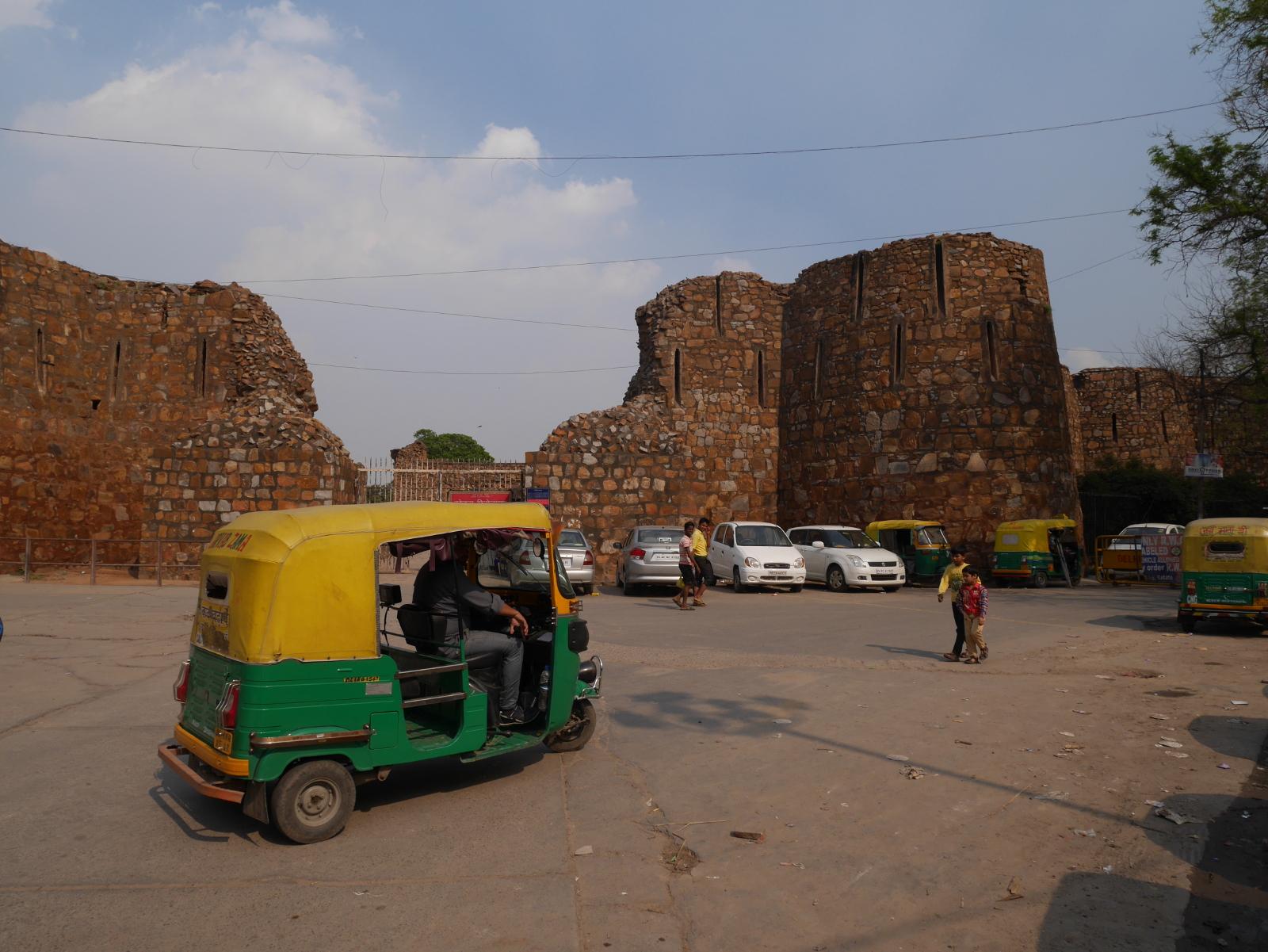 A Bajaj autorickshaw at Firoz Shah Kotla, Delhi.