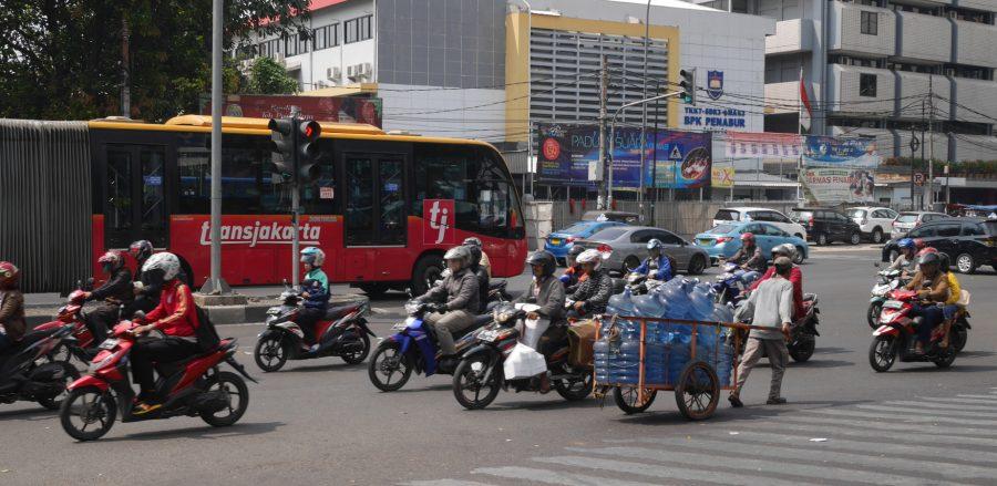 Traffic on Pasar Senen, Jakarta.