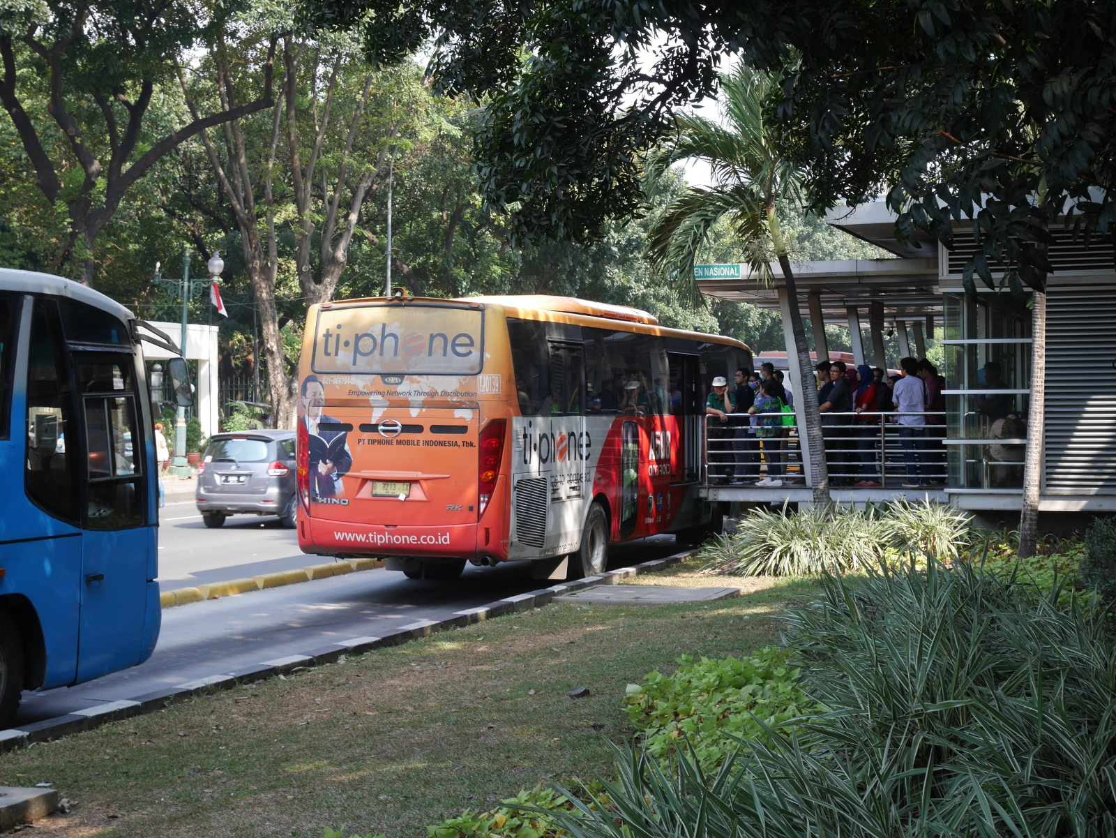 Buses at a Transjakarta station.