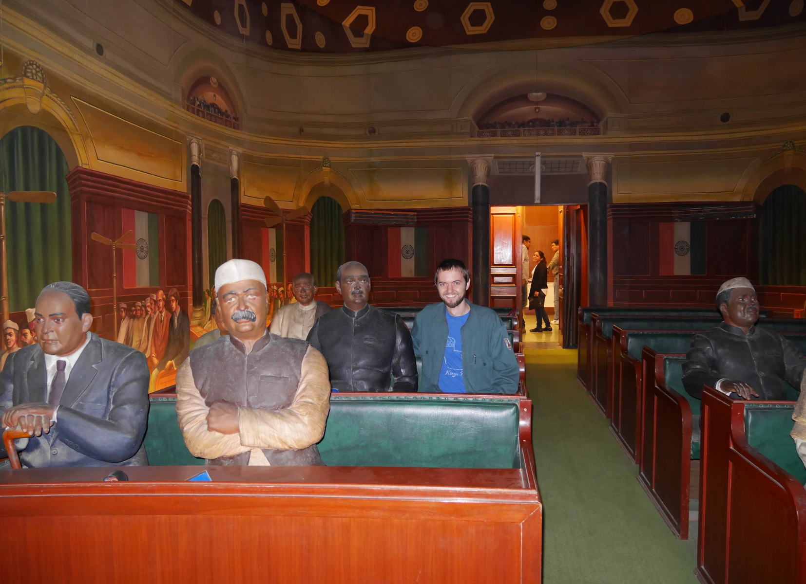 Surreal Lok Sabha replica, with trompe-l'oeil walls, mannequins of MPs, and spots on the benches for real people to sit too. I really hope this is preserved in any remodeling of the museum