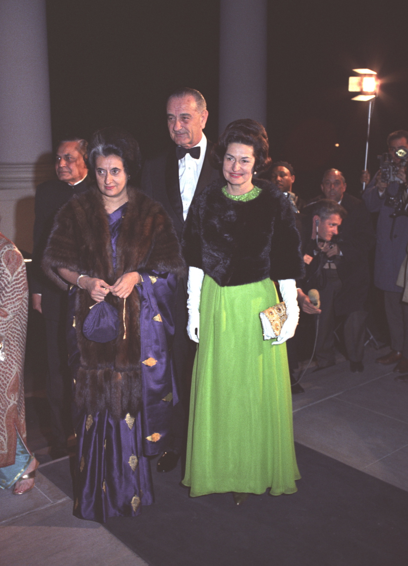 Prime Minister Indira Gandhi and President and First Lady Johnson in Washington, DC, March 1966.