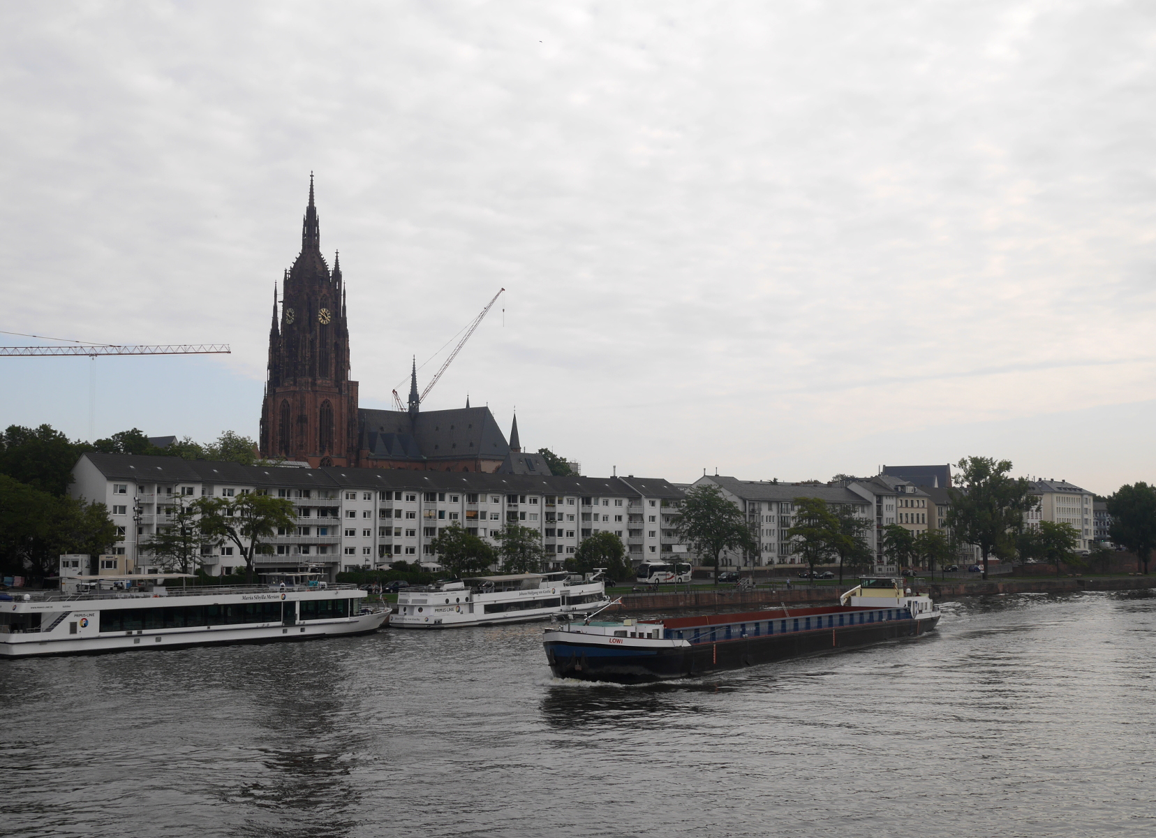 View of the Frankfurter Dom from a bridge over the Main River.
