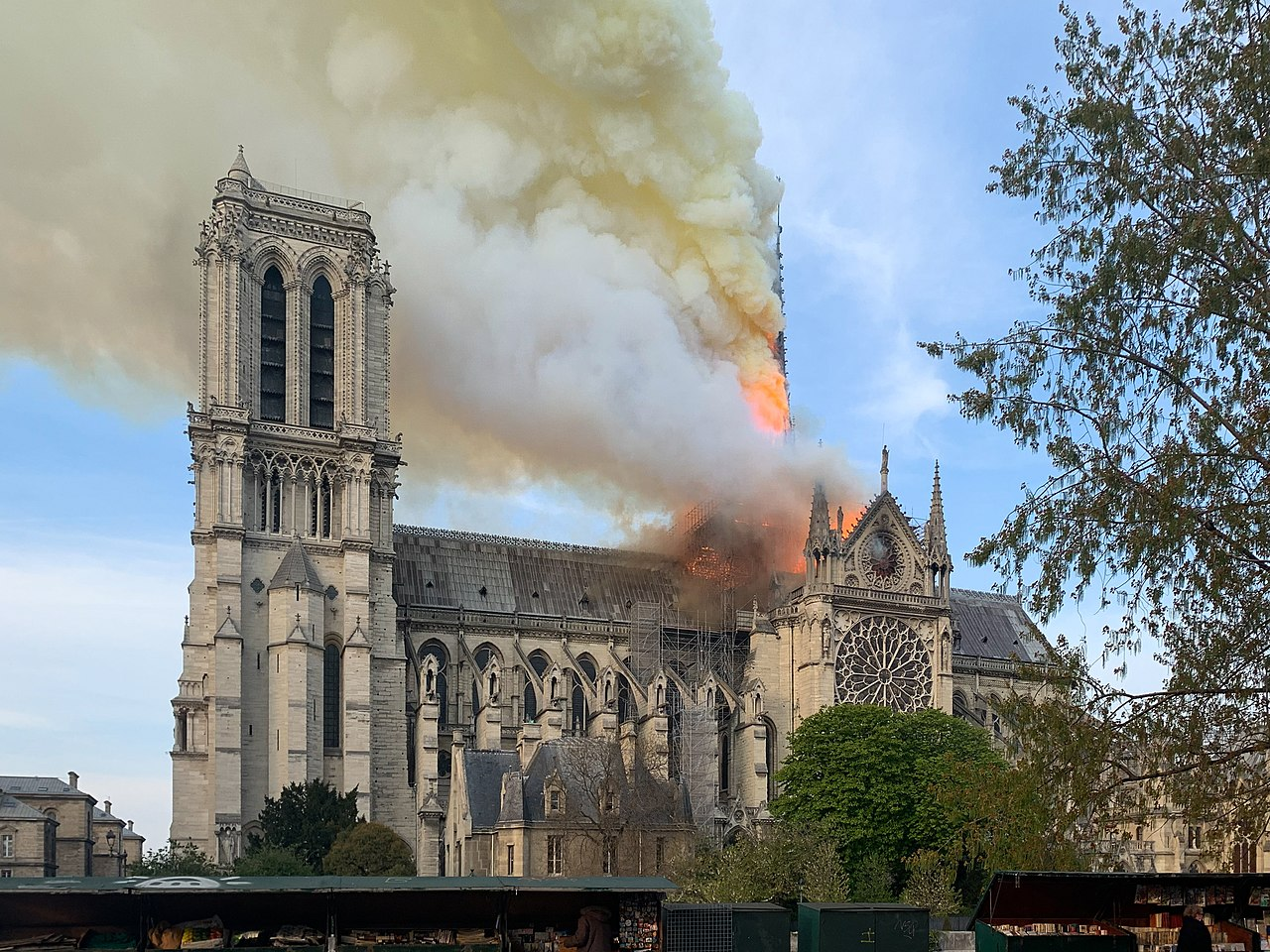 Notre Dame on fire. (Source: Wandrille de Préville on Wikimedia Commons, CC-BY-SA-4.0)