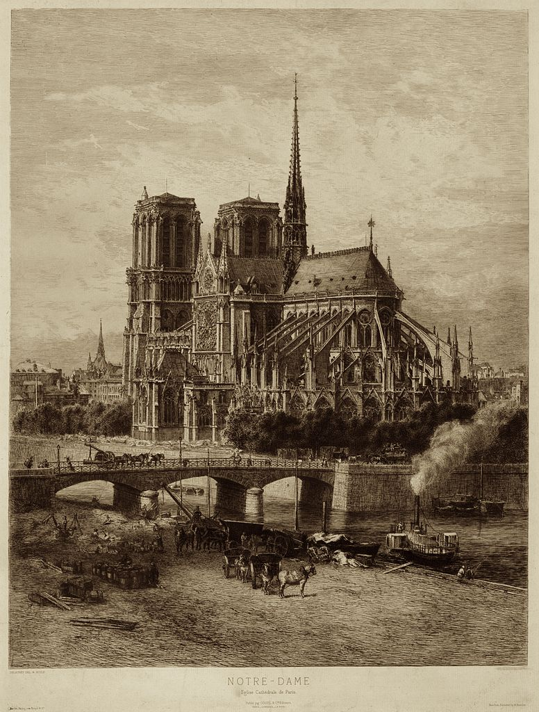 Nineteenth-century engraving of Notre Dame Cathedral by Alfred-Alexanre Delauney. (Source: Wikimedia Commons, public domain)