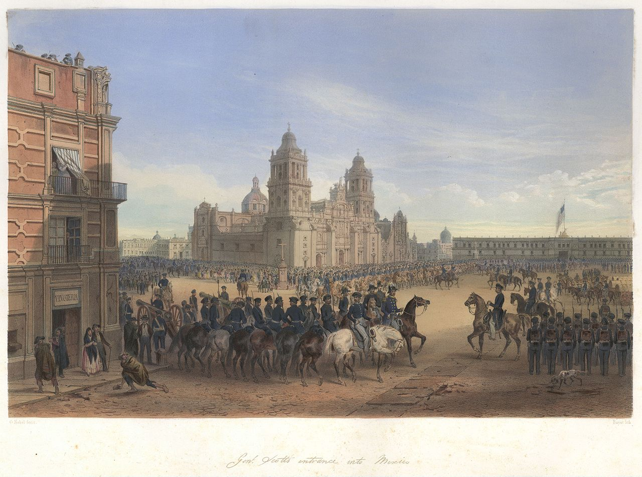 Illustration by Carl Nebel of American troops parading in the Zócalo.