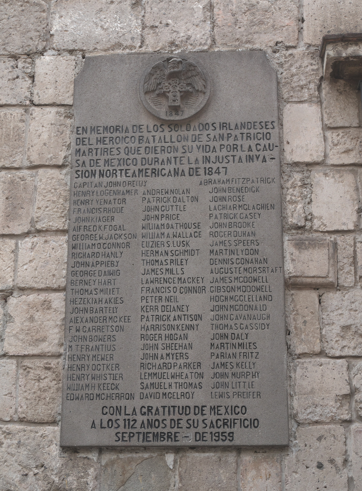 Plaque honoring the Sanpatricios in San Ángel, placed in 1959.