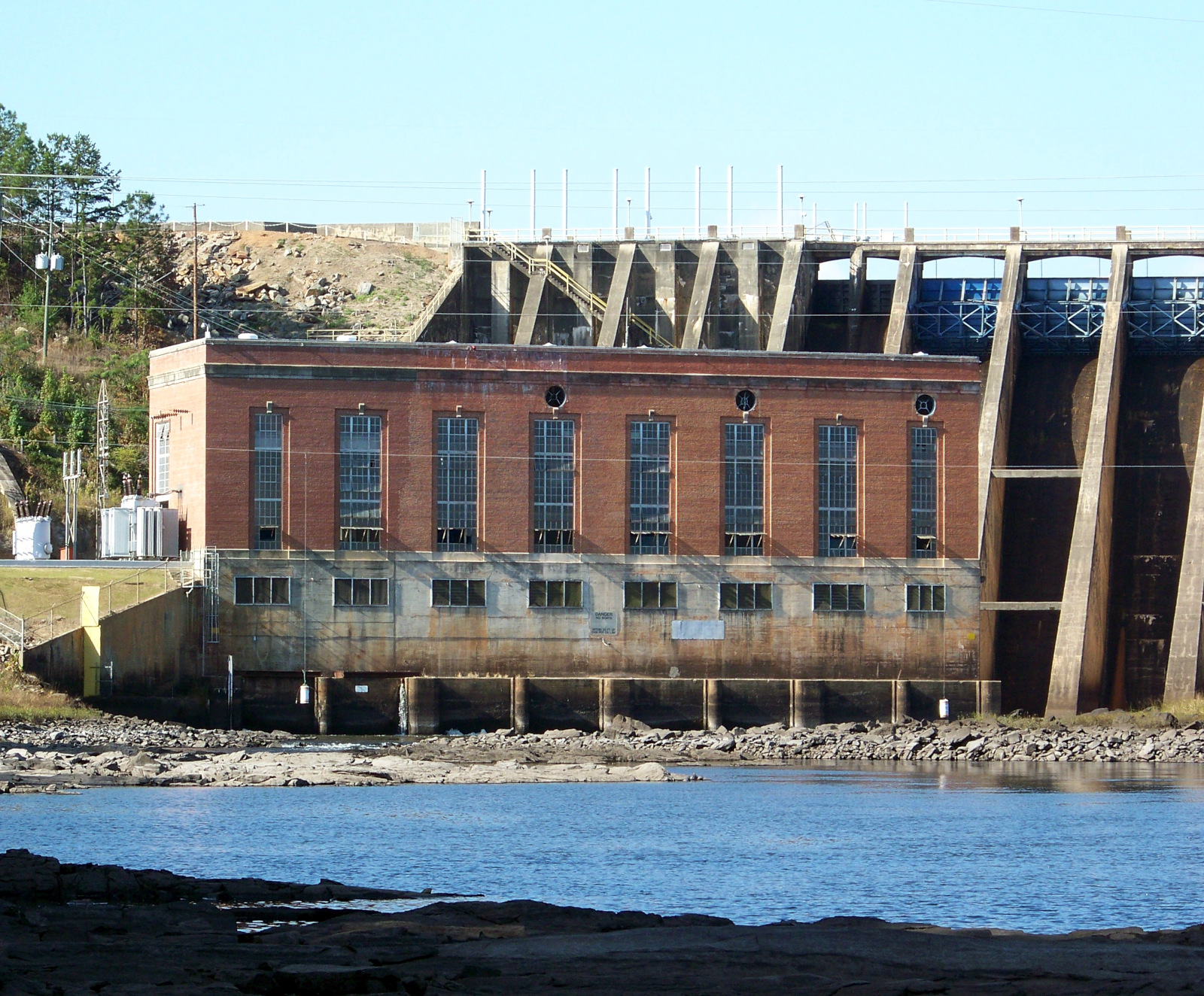 The original powerhouse of Bartletts Ferry Dam, built 1924-1925 and expanded after World War II.