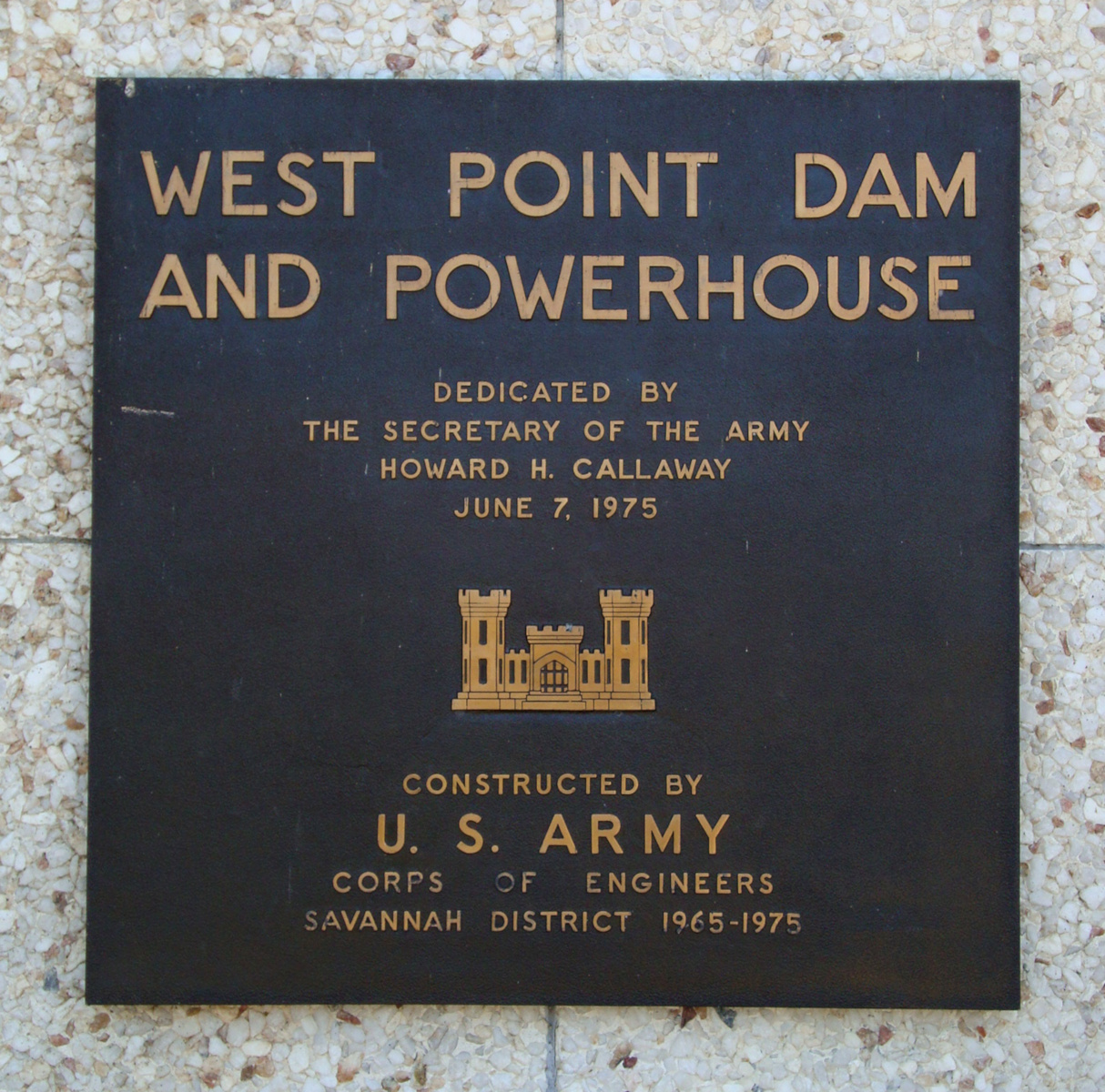 West Point Dam and Powerhouse dedication plaque (1975)