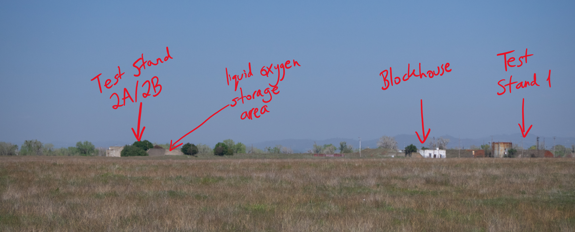 Annotated view of the remains of the Alpha test site.