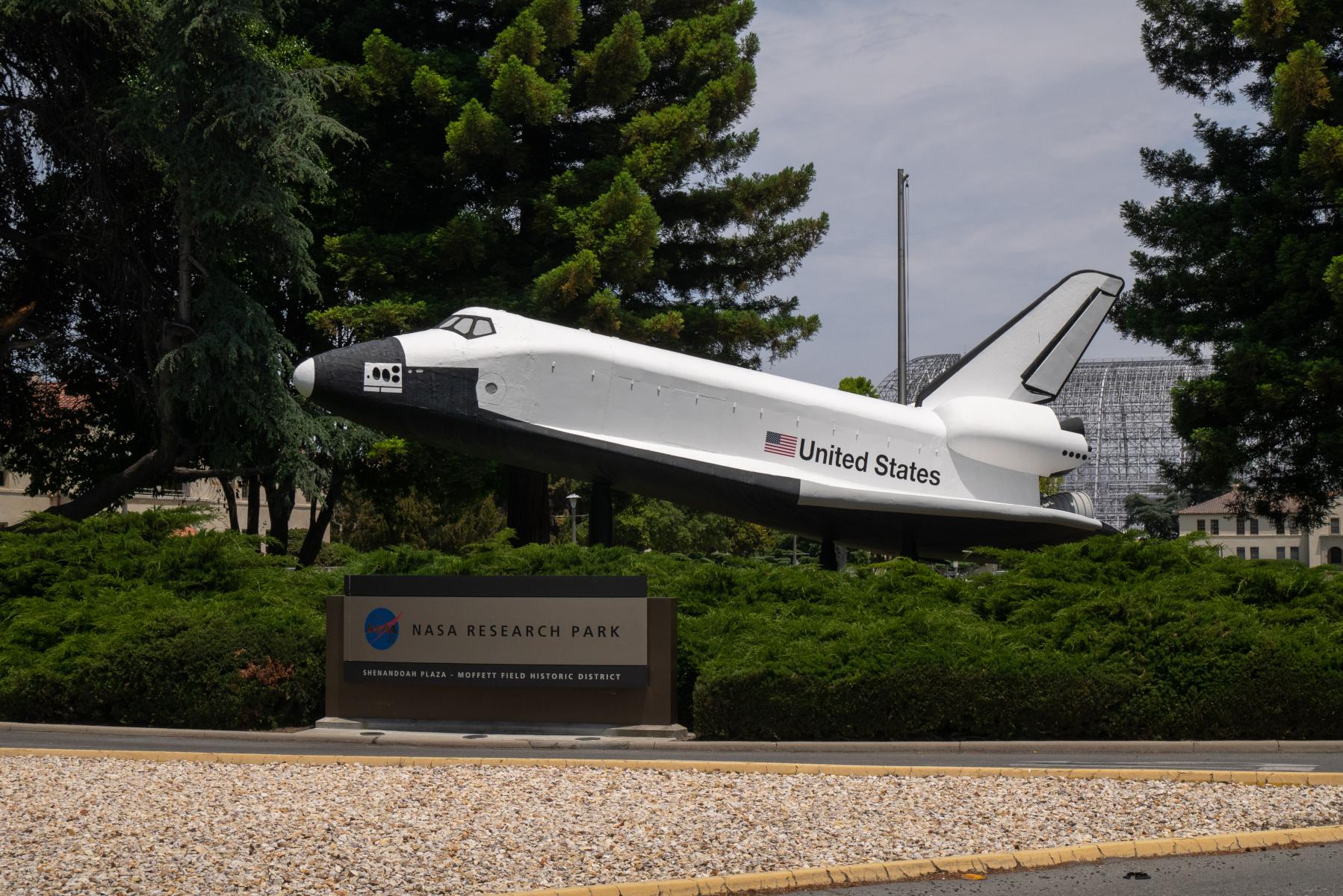 The Moffett Field Space Shuttle model.