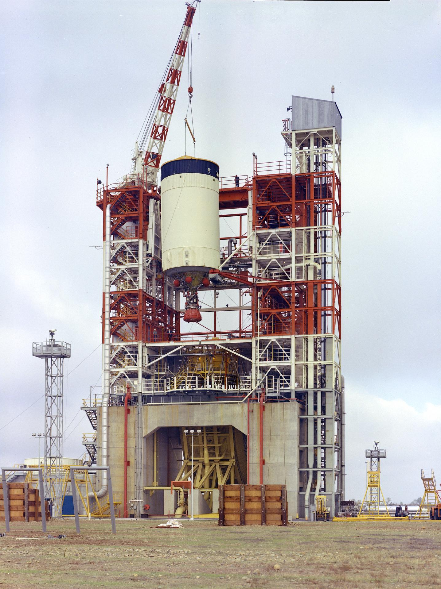 The Apollo 10 S-IVB stage being hoisted out of the Beta Test Stand 1 at SACTO after its static firing. (Source: NASA)