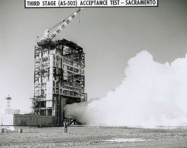 The Apollo 6 stage during static-firing in Beta Test Stand 1. (Source: NASA)