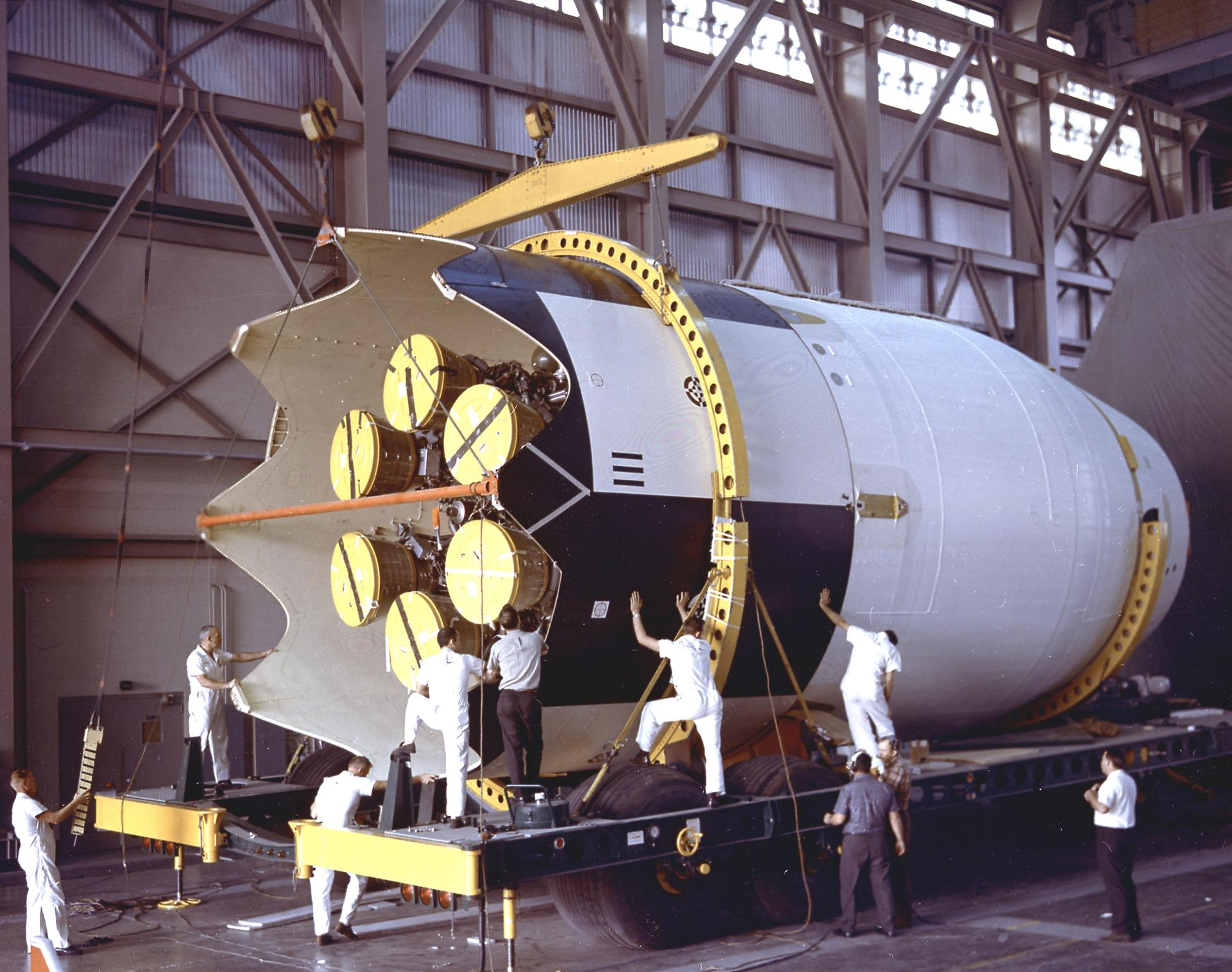 The S-IV stage for the SA-9 mission, undergoing weight and balance tests before launch. (Source: NASA)