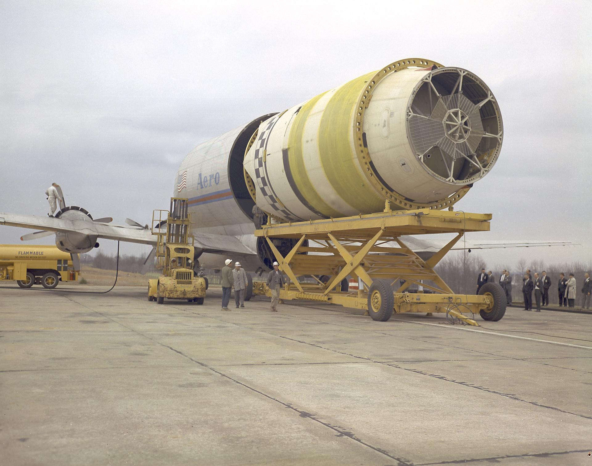 The Pregnant Guppy transporting an S-IV stage. (Source: NASA)
