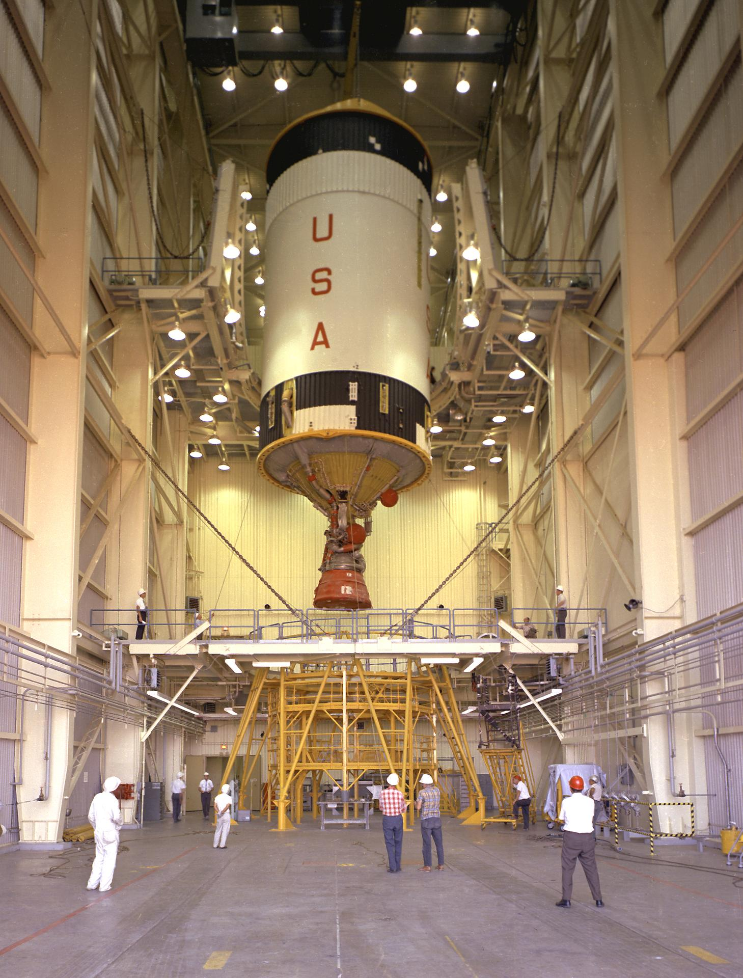 The interior of the Vertical Checkout Lab with an S-IVB. (Source: NASA)