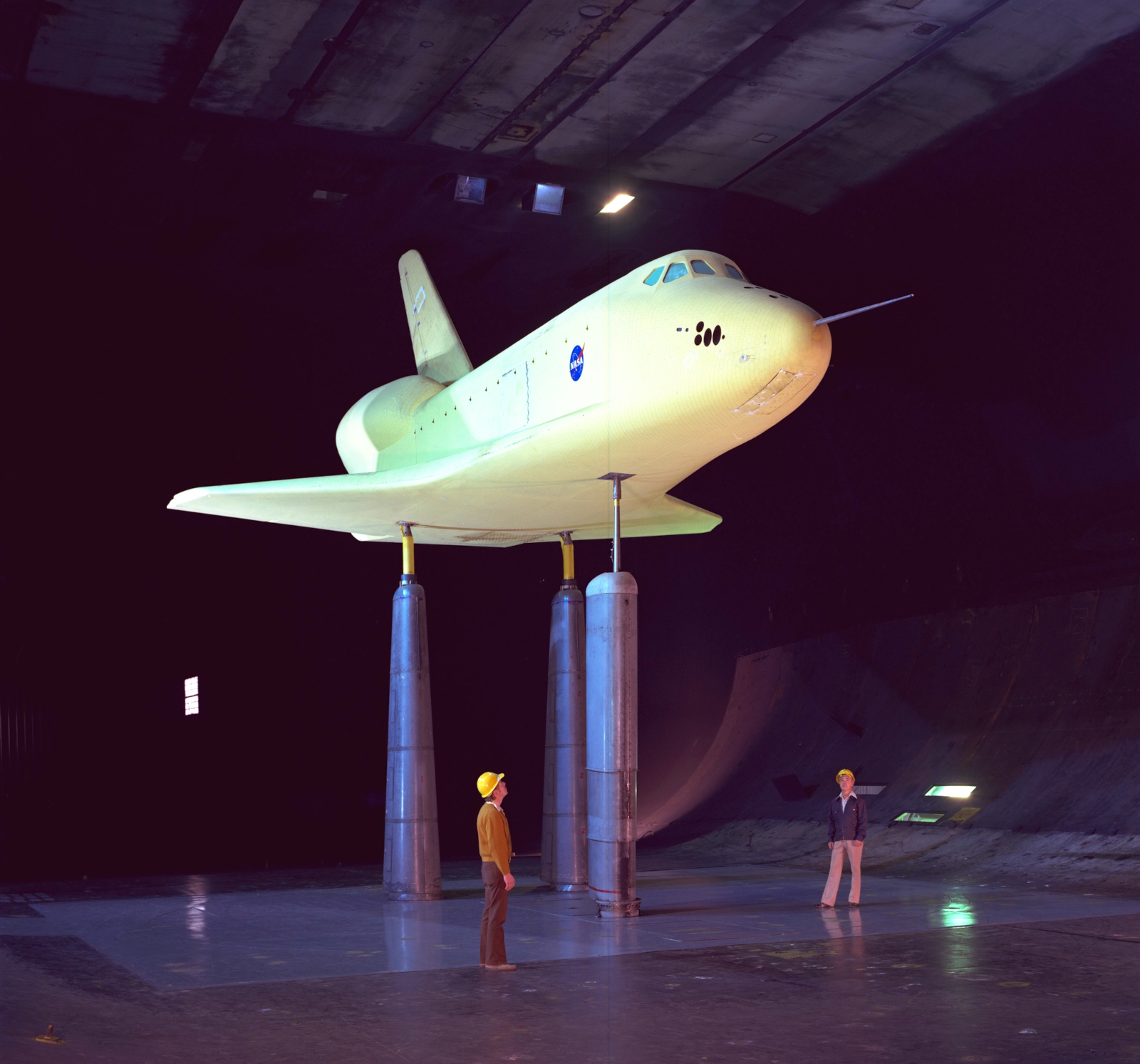 The 0.36-scale shuttle model during testing in the 40x80-ft wind tunnel at NASA Ames, February 27, 1976. (Source: NASA)