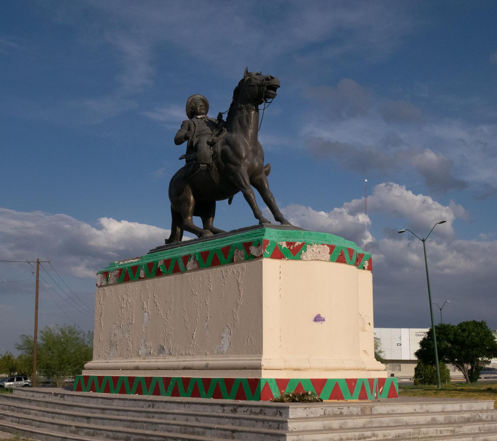 Heroic equestrian statue of Pancho Villa in Ciudad Juárez.